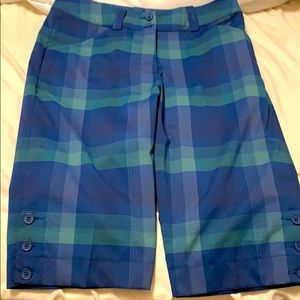 Nike Dry-fit golf shorts.  Size 2. Blue and green